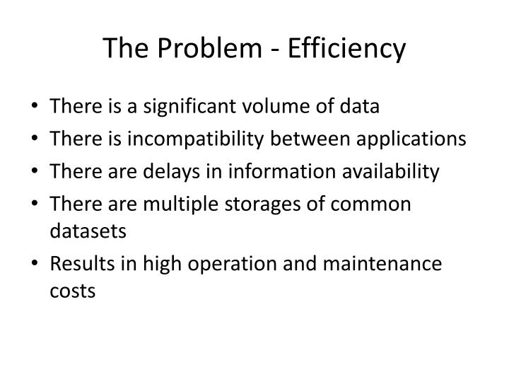 The problem efficiency
