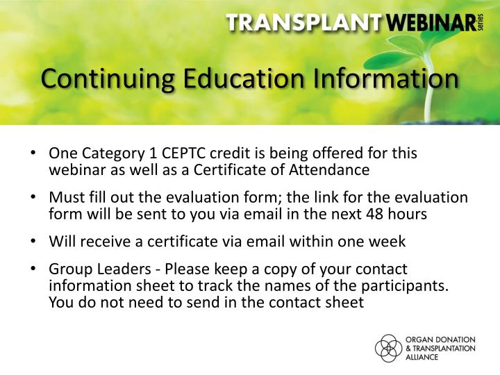 Continuing Education Information