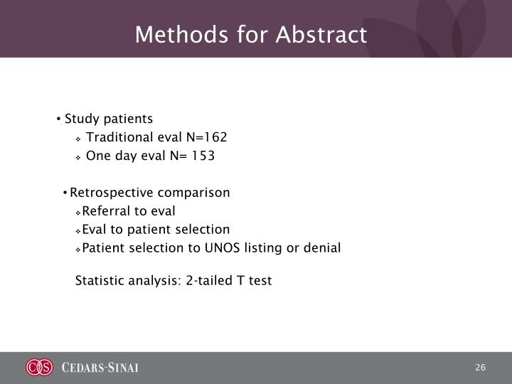Methods for Abstract