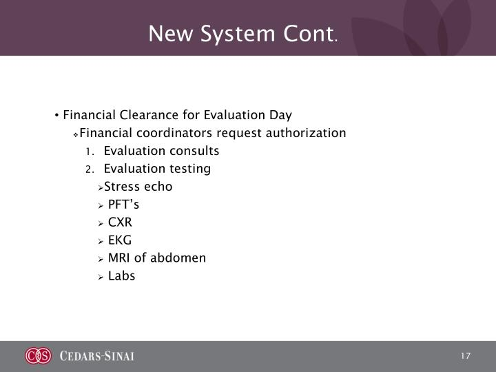 New System Cont