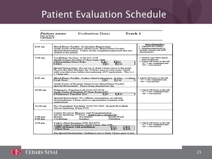 Patient Evaluation Schedule