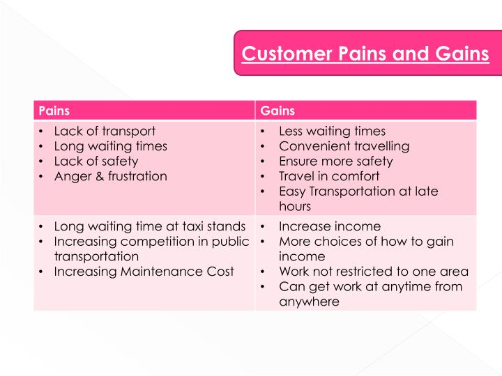 Customer Pains and Gains