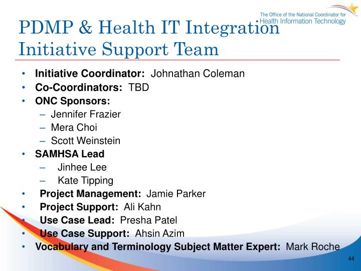PDMP & Health IT Integration Initiative Support Team