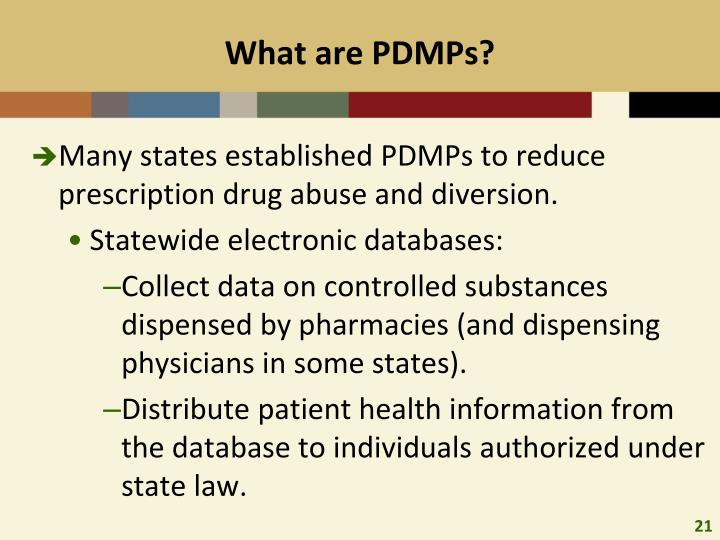 What are PDMPs?