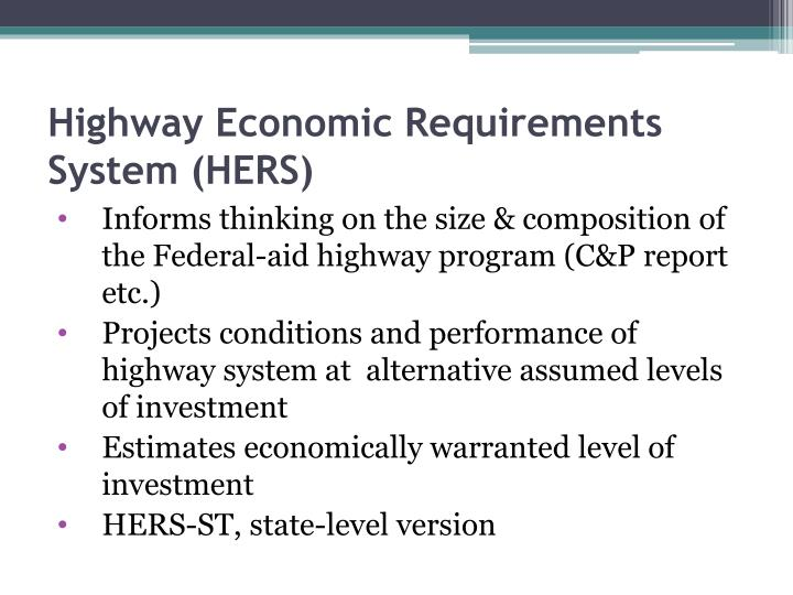 Highway Economic Requirements System (HERS)
