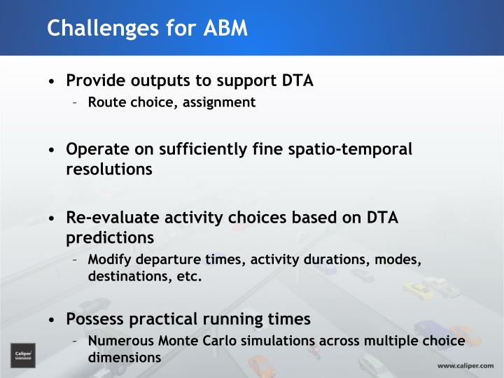 Challenges for ABM