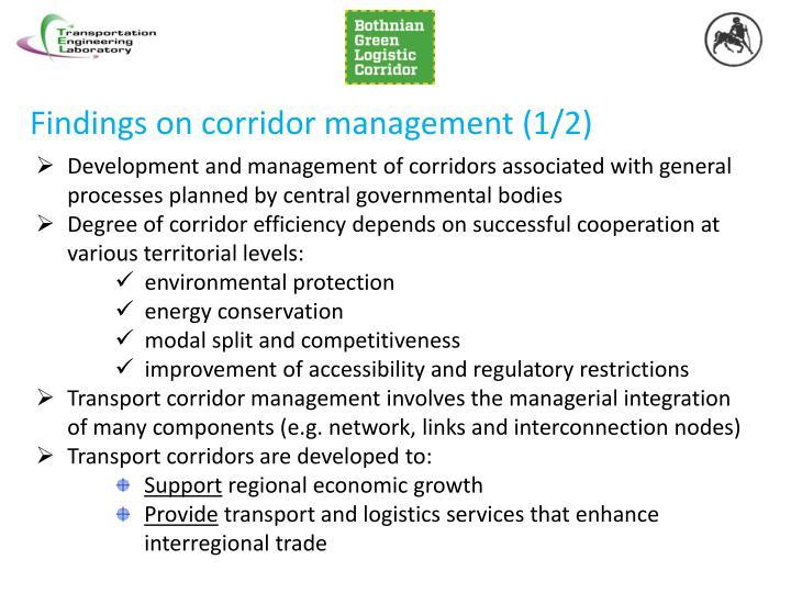 Findings on corridor management (1/2)