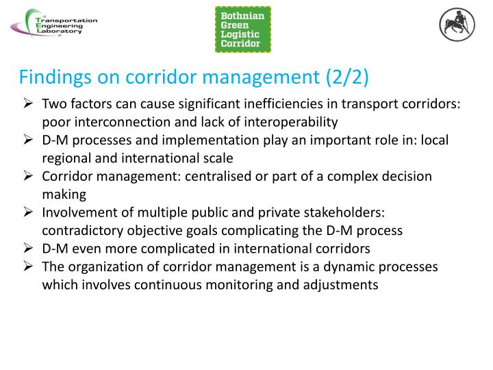 Findings on corridor management (2/2)