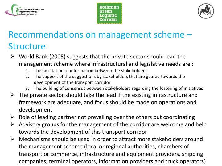 Recommendations on management scheme –