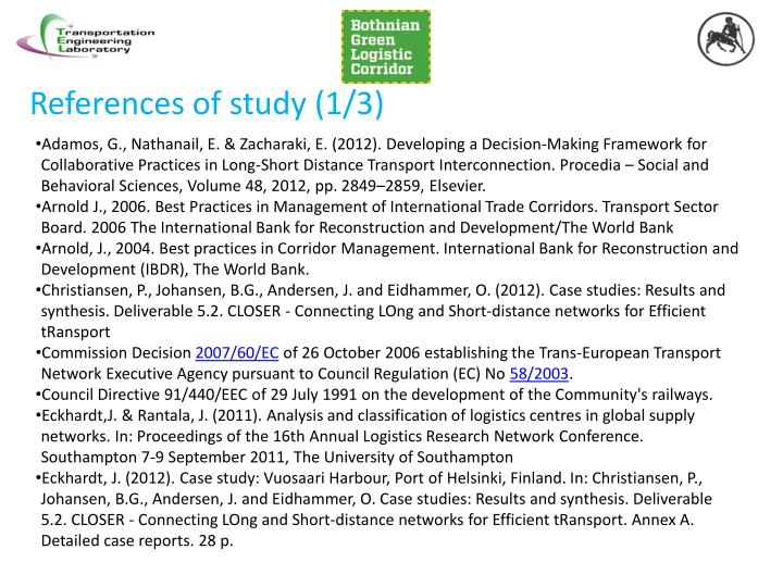 References of study (1/3)