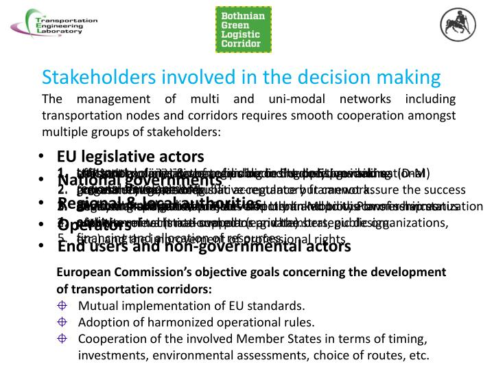 Stakeholders involved in the decision making