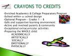 crayons to credits