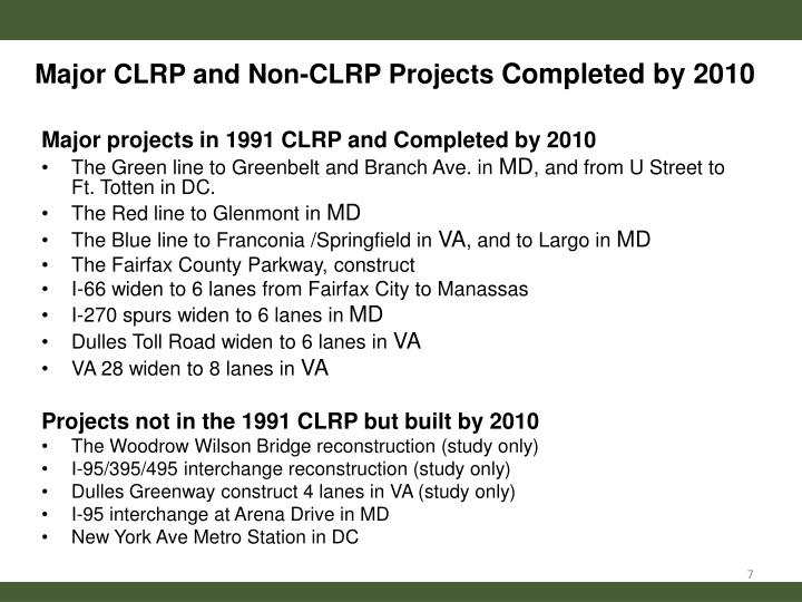 Major CLRP and Non-CLRP Projects