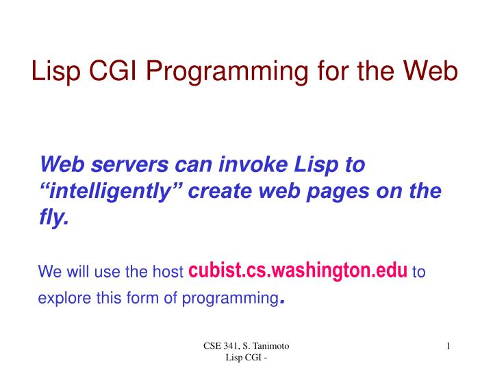 lisp cgi programming for the web n.