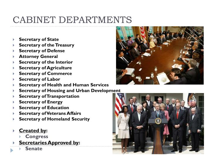 CABINET DEPARTMENTS