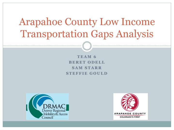 Arapahoe county low income transportation gaps analysis