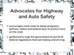 advocates for highway and auto safety