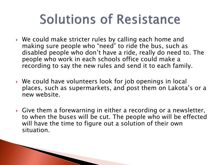 Solutions of Resistance