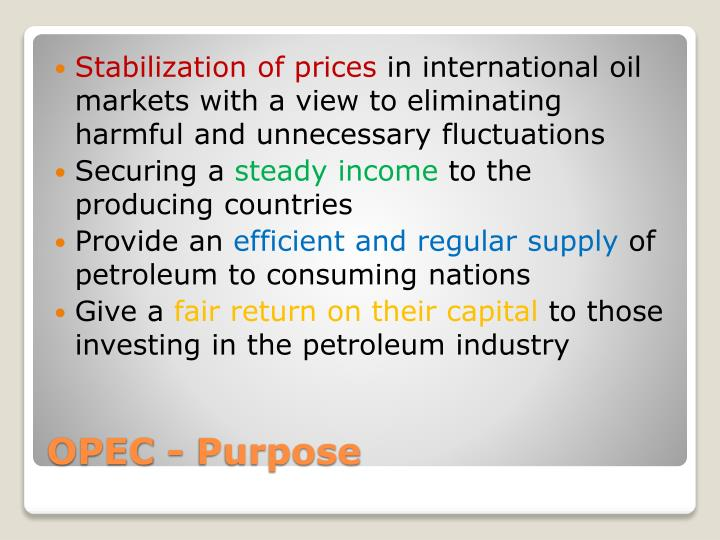 Stabilization of prices
