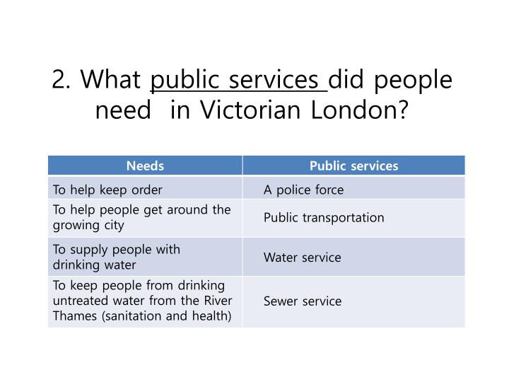 2 what public services did people need in victorian london