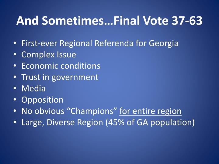 And Sometimes…Final Vote 37-63