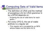 computing sets of valid items