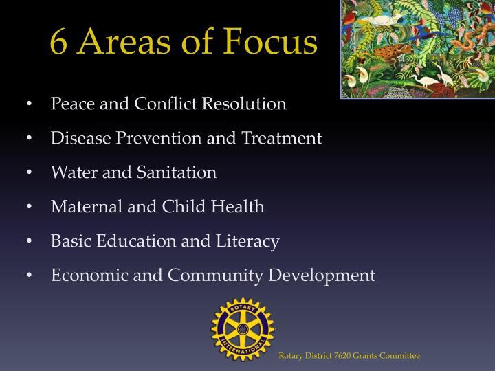 6 Areas of Focus