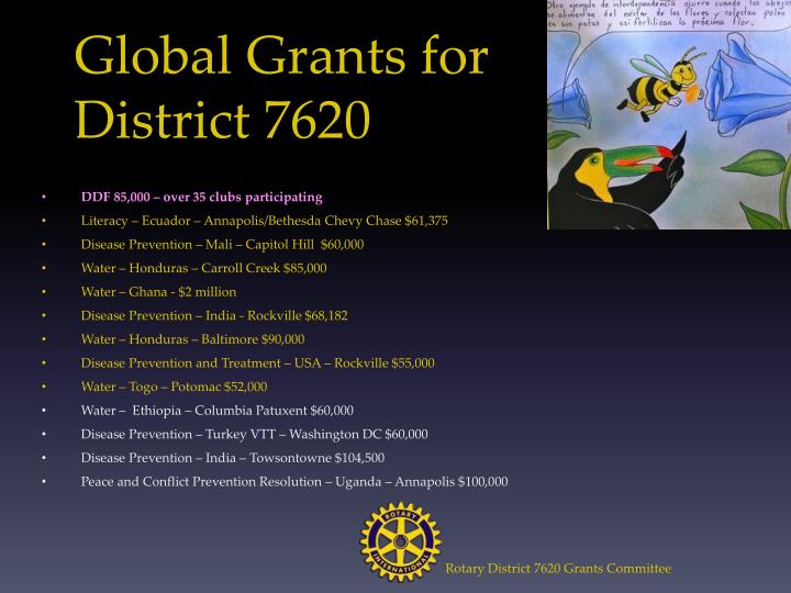 Global Grants for District 7620