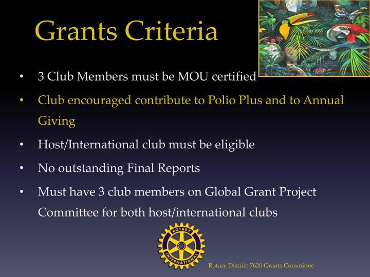 Grants Criteria
