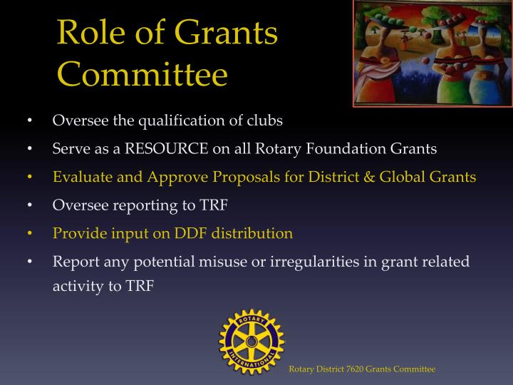 Role of Grants Committee