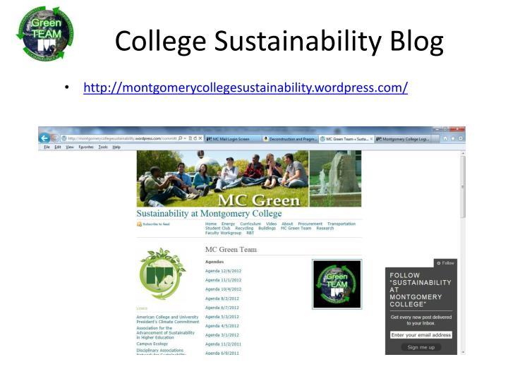 College sustainability blog