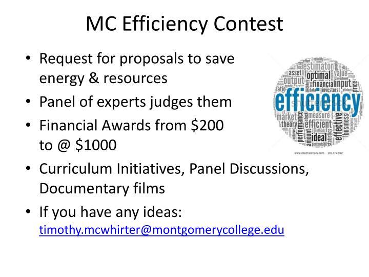 MC Efficiency Contest