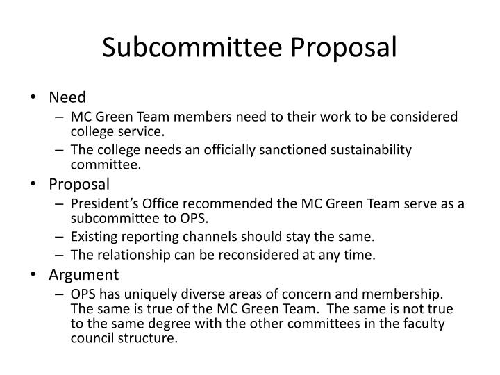 Subcommittee Proposal