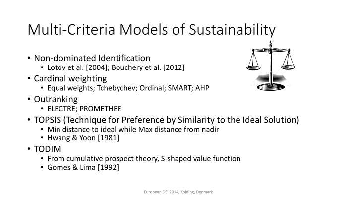 Multi criteria models of sustainability