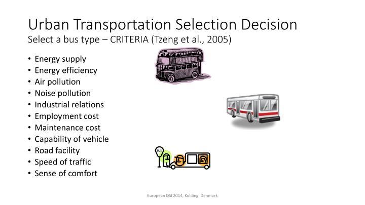 Urban Transportation Selection Decision
