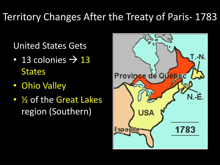 Territory Changes After the Treaty of Paris- 1783