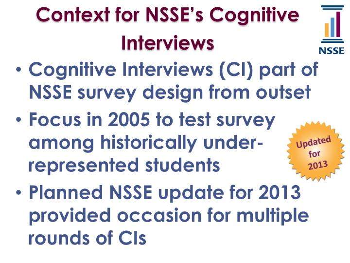 Context for NSSE's Cognitive Interviews