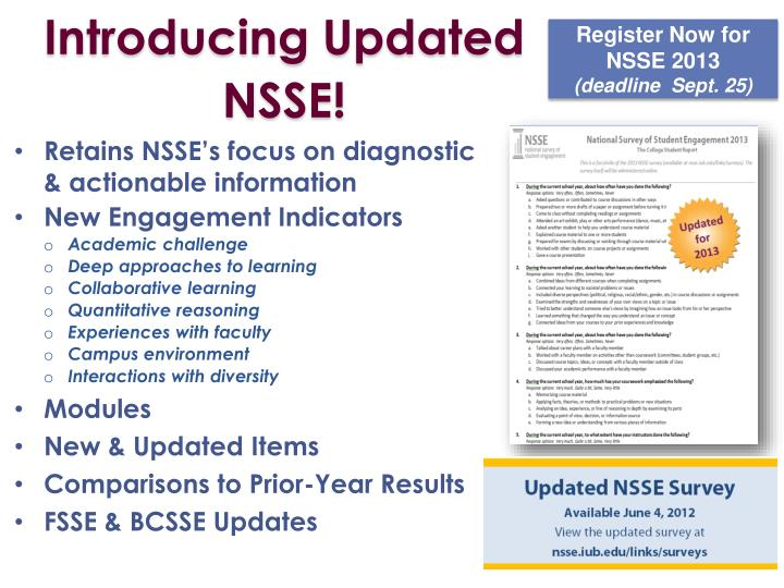 Introducing Updated NSSE!