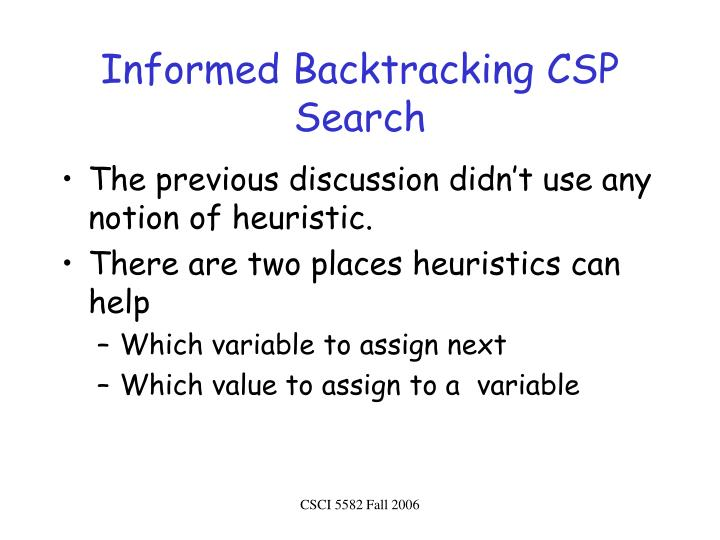 Informed Backtracking CSP Search