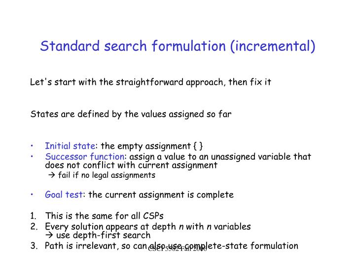 Standard search formulation (incremental)