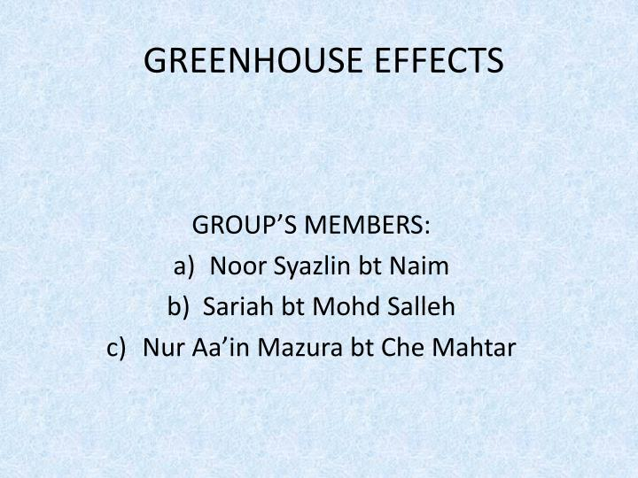 greenhouse effects n.