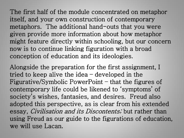 The first half of the module concentrated on metaphor itself, and your own construction of contempor...