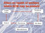effect on health of workers where acm may be present