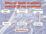 effect on health of workers where acm may be present1