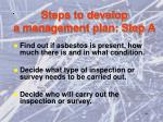 steps to develop a management plan step a