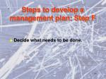 steps to develop a management plan step f