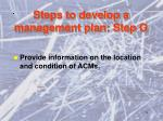 steps to develop a management plan step g