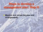 steps to develop a management plan step h