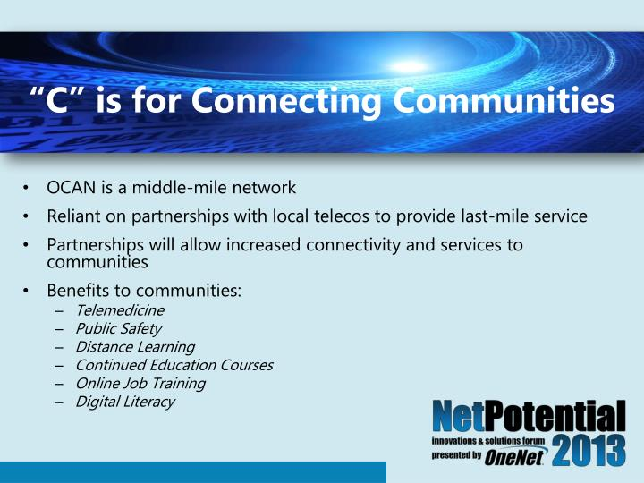 """""""C"""" is for Connecting Communities"""