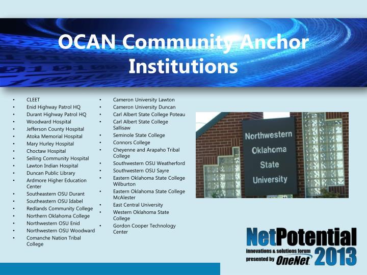 OCAN Community Anchor Institutions